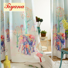 Modern cartoon pink elephant pattern window curtains and draperies elephant custom made curtains luxury home bedroom WP080 *30