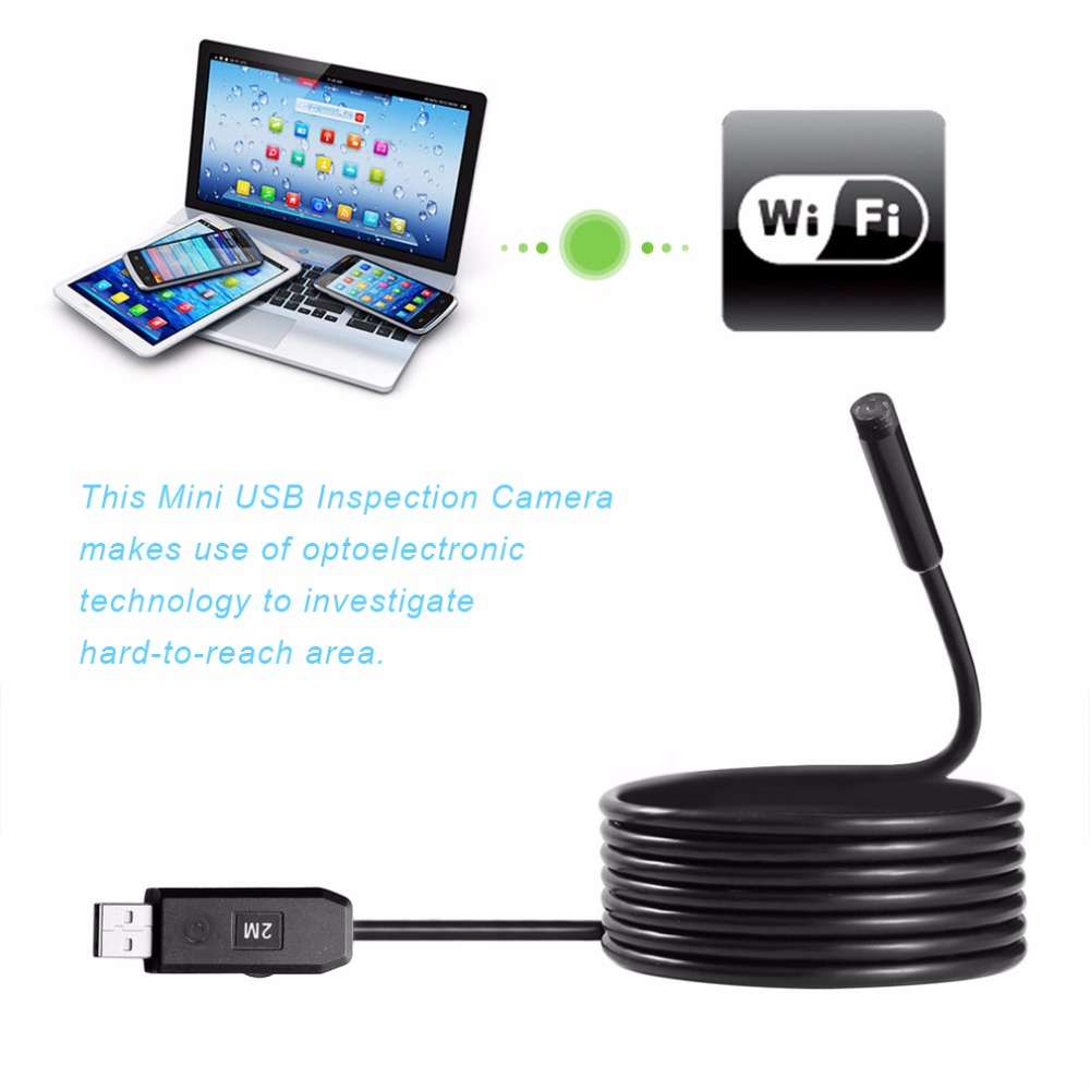 2M 7mm Lens Endoscope HD 480P USB OTG Camera For PC Waterproof IP67 6 LEDs Inspection Pipe Camera Borescope usb endoscope camera hd 2m cable ip67 waterproof 7mm micro usb android otg pc inspection borescope snake tube pipe not ip camera
