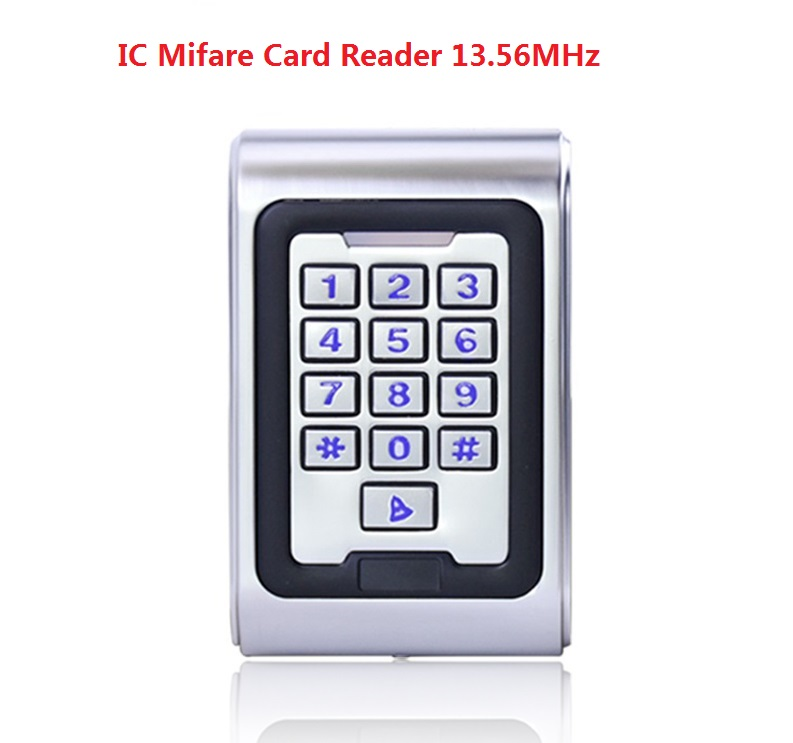 Security Reader 13.65MHZ Metal Access Control keypad Waterproof IC Mifare Card Reader include 3pcs RFID Keyfobs Home Automation