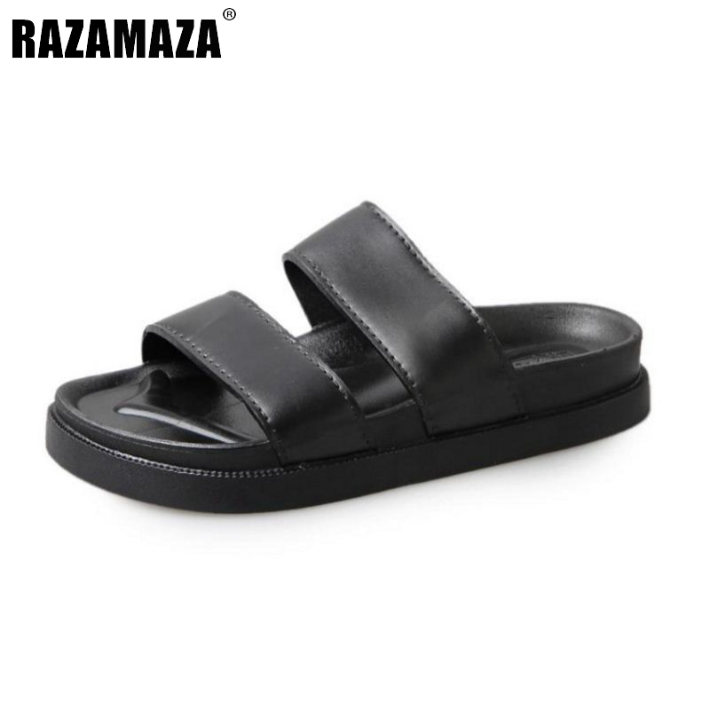 RAZAMAZA Simple Women Beach Flats Sandals Open Toe Solid Color Flats Sandals Summer Vacation Shoes Women Slippers Size 36-40 free shipping candy color women garden shoes breathable women beach shoes hsa21