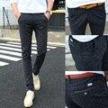 Мужчина случайно брюки жидкости тонкий середины талии узкие брюки мужской подросток брюки