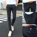 male casual pants fluid slim mid waist skinny pants male teenage trousers