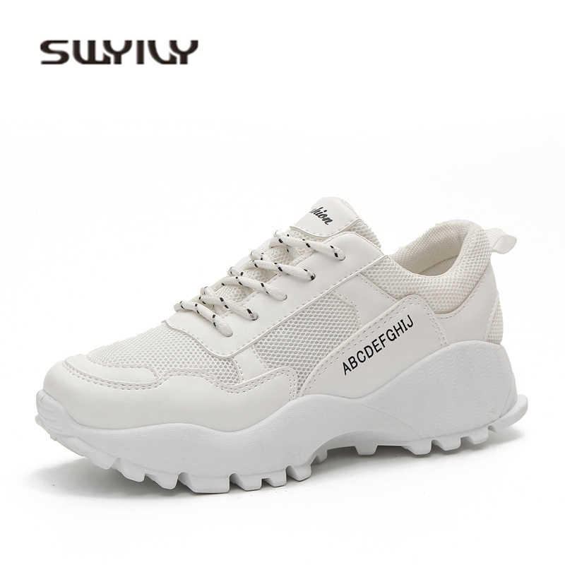 SWYIVY White Sneakers Shoes Woman 2018 Spring Wedge Comfortable Casual Shoes Mesh Breathable Student Leisure Shoes Sneakers 40 swyivy women sneakers light weight 2018 41 woman casual shoes slip on lazy shoes comfortable candy color breathable net shoe