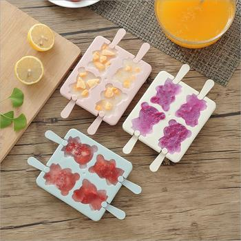 cute cartoon  4-hole bear pattern ice cream mold tray tubs and popsicle maker