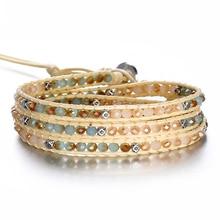 Bohemian Beads Weave Charm Bracelets For Women  Statement Natural Stone Handmade Leather Rope Wrap Bracelet Fashion Jewelry