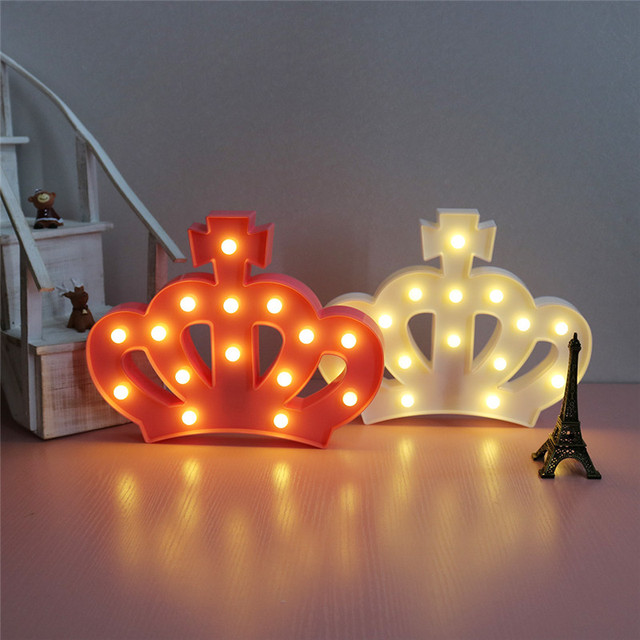 Cute Crown 15 Leds Letter Lamp Marquee Sign Light 2 Aa Battery Operated