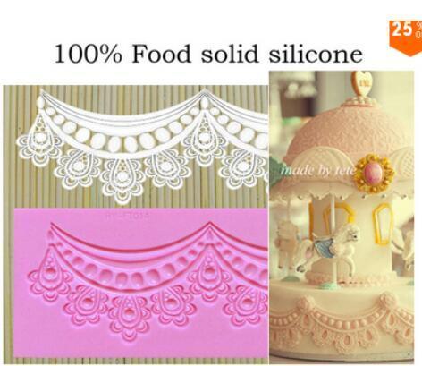 N124 Свадьбы сахара торт красивые украшения flower laciness среднего корона воротник кружева коврик силиконовый шнурок плесень