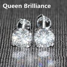 Genuino 18 K 750 Oro Blanco Tornillo de Nuevo 1 Quilates quilates F Color Lab Test Positivo Grown Moissanite Diamante Tachona Los Pendientes Para Las Mujeres