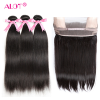 Alot 360 Lace Frontal Closure With Bundles Brazilian Straight Human Hair Weave 360 Frontal With Baby