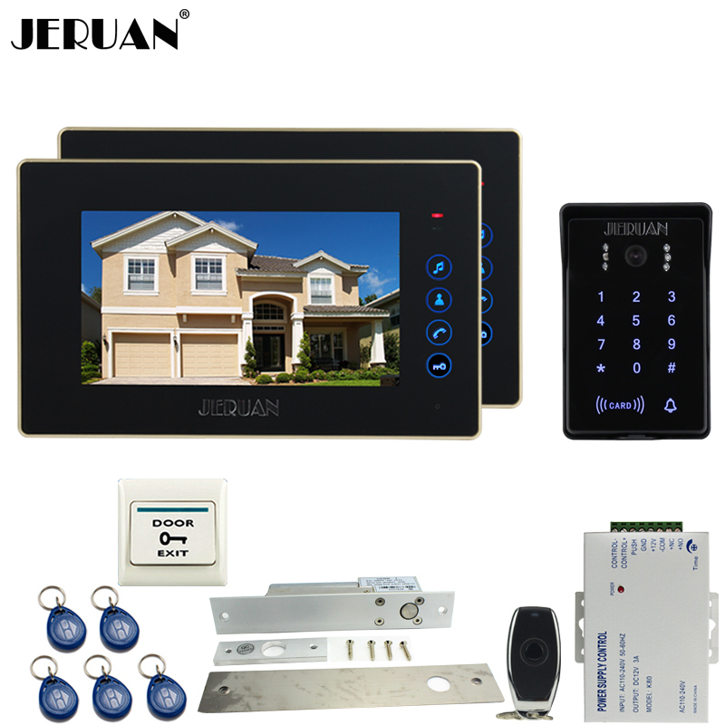 JERUAN NEW 7`` video doorphone intercom system kit 2 monitor waterproof touch key password keypad camera Electric mortise lock jeruan wired 7 touch key video doorphone intercom system kit waterproof touch key password keypad camera 180kg magnetic lock