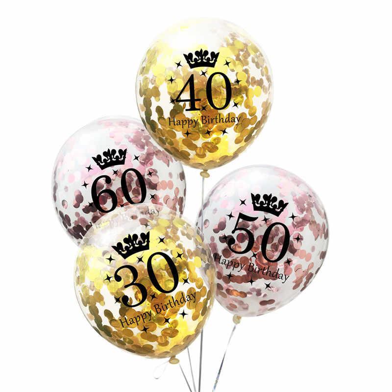 Confetti 5 pcs 12 polegada Transparente Balões Adultos 30/40/50/60/70 Decorações Da Festa de Aniversário favores Do Partido Balões De Látex claras