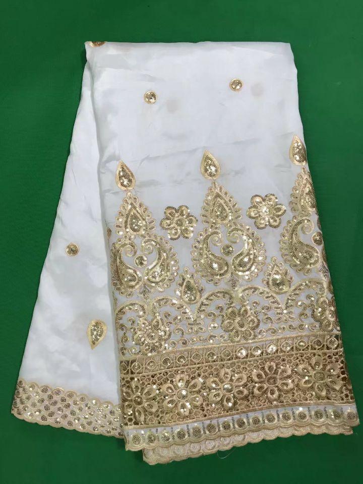 5 yardas/pc nueva moda blanco George encaje tela con cielo azul flor lentejuelas algodón africano encaje para ropa DG1 1-in encaje from Hogar y Mascotas    3