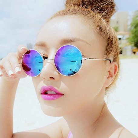 Round Reflective Sunglasses  2016 vintage round sunglasses women men reflective sunglasses