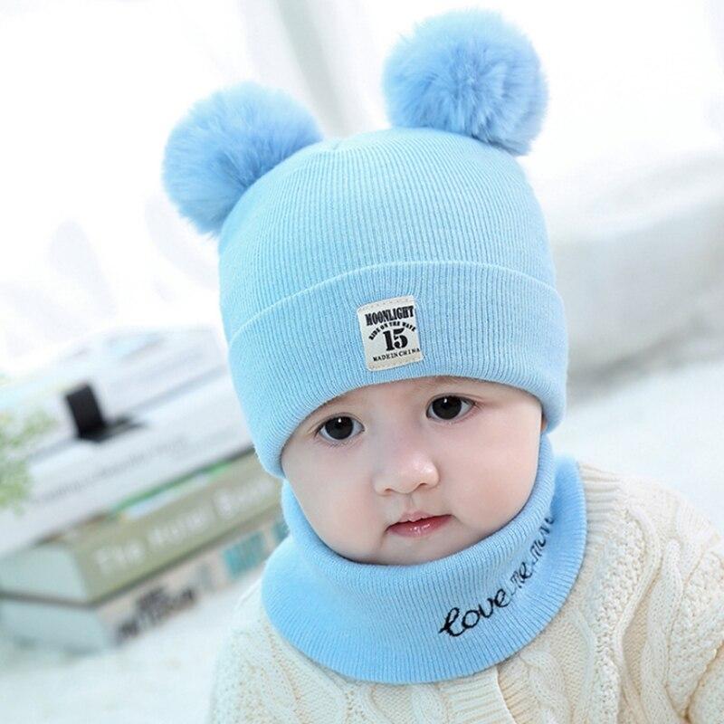 Mutter & Kinder Schöne Baby Caps Baumwolle Hüte Und Schals Für Mädchen Jungen Nette Warm Woolen Kinder Cap Und Schal Sets Mit Blau /rosa/rot/grau Farbe