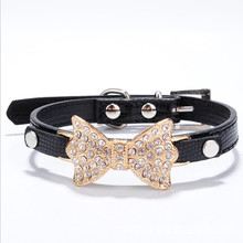 Luxury Pet Jewelry Rhinestone Princess Dogs Accessories Pet Necklace With Bling Bow-knot For Female Pets
