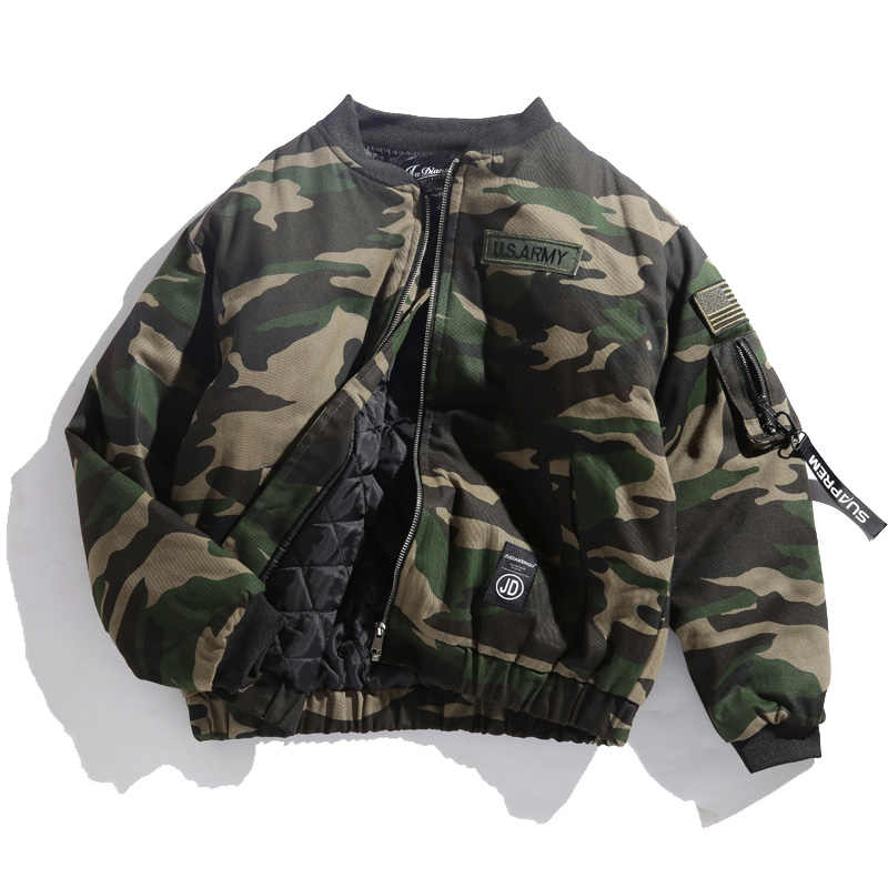 b6cb1bc44 Japane Brand Men bomber jacket Camouflage Flag embroidered Badge Military  Thick Loose Outerwear Army green padded Coats
