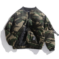 Japane Brand Men bomber jacket Camouflage Flag embroidered Badge Military Thick Loose Outerwear Army green padded Coats