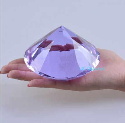Huge Crystal Purple Paperweight Cut Glass Giant Diamond Wedding Decor Gift 200mm
