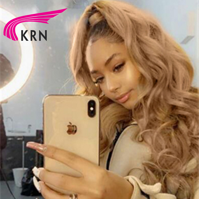 KRN Blonde Ombre Human Hair 13X6 Lace Front Wigs For Women Remy  Hair Wavy Lace Front Wig Human Hair Lace Wig With Baby Hair