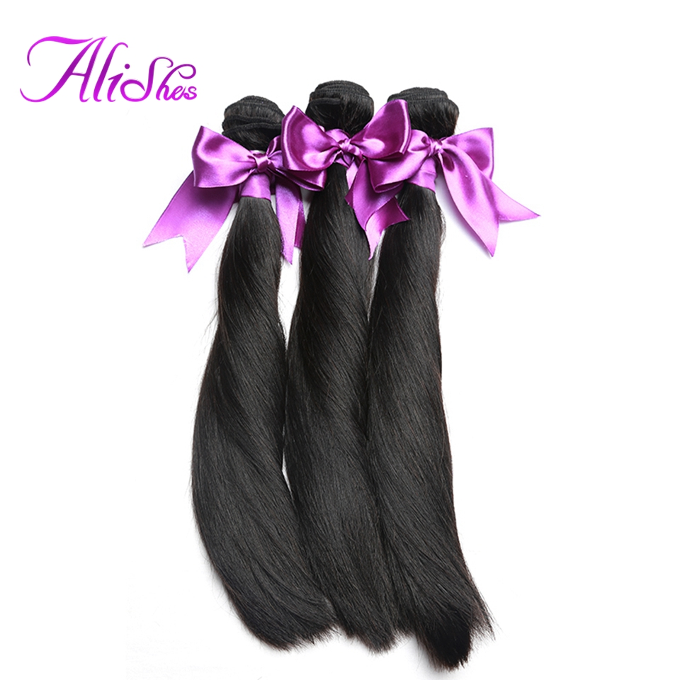 Alishes Hair Malaysian Straight Hair 3 Bundles Remy Hair Weaving 100% Natural Human Hair Bundles 8-28 Inch Mixed Free Shipping ...