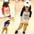 Caliente venta Size100 ~ 130 niños ropa niños tops camisetas de manga larga t-shirt camiseta de las muchachas búho