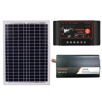 18V20W Solar Panel +12V 50A/60A Controller + 1200W Inverter Dc12V-Ac230V Solar Power Generation Kit 1