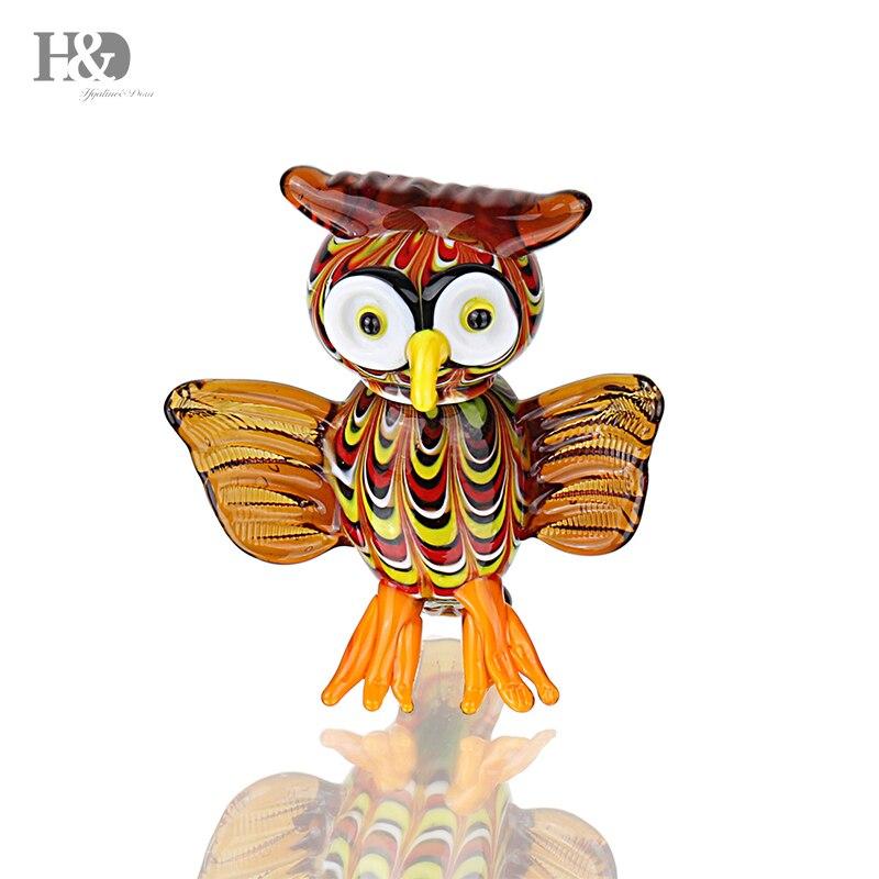 H & D 2,7 ''Animal Figurines arte hecho a mano de cristal búho corte escultura moderna decoración del hogar de cristal ornamento búho