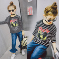 Children's clothing 2017 spring new striped print long-sleeved t-shirt wild T-shirt free shipping