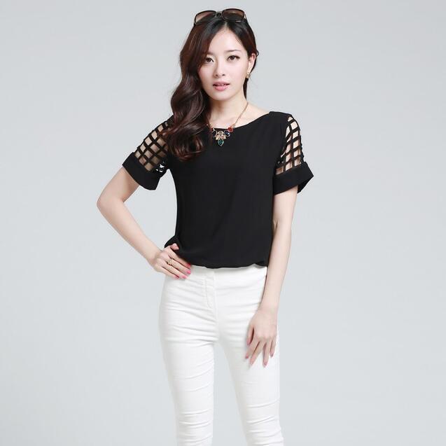 HTB1gOwkKpXXXXbeXpXXq6xXFXXXj - New Summer shirt Short sleeve Chiffon Blouse Tops Clothing 5XL