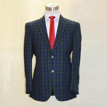 fine wool dark green /blue/black yarn dyed window plaid man's fashion suit, tailor made man's MTM wedding suit free shipping