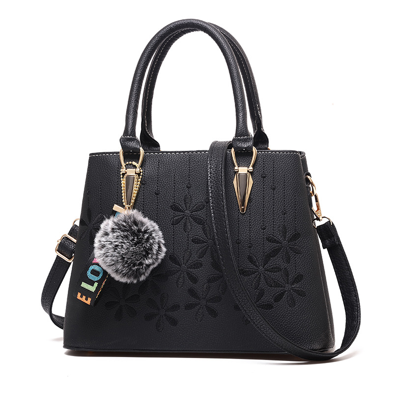 Women Casual Soft Pu Leather Handbag Flower Embroidery Female Travel Shopping Tote Shoulder Bag Business Messenger Bag Gift Bag