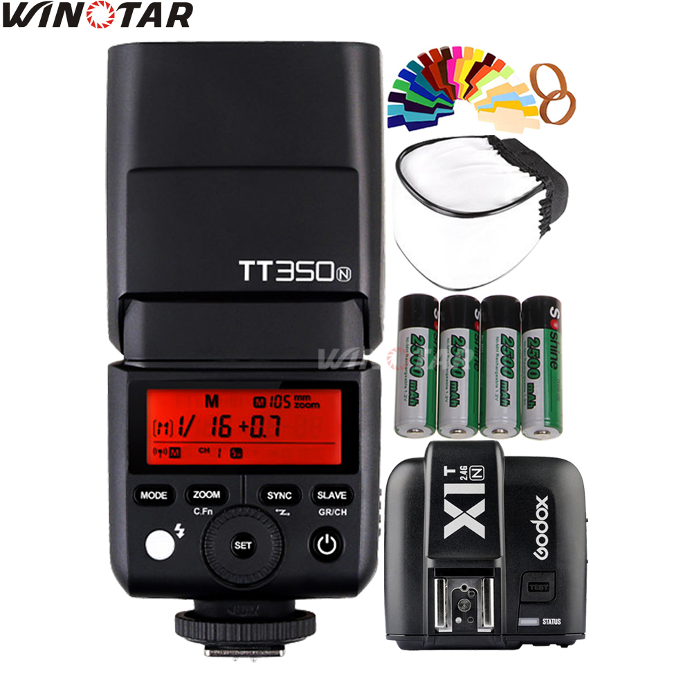 Godox Mini Speedlite TT350N Camera Flash TTL HSS + X1T-N Trigger + 4x 2500mAh Rechargeable Battery for Nikon DSLR Cameras godox v860iic v860iin v860iis x1t c x1t n x1t s hss 1 8000s gn60 ttl flash speedlite 2 4g transmission godox softbox filter