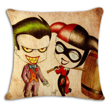 Home Decorative Harley Quinn Joker Cushion cover Square Pillow Cotton Linen Cover Soft Throw