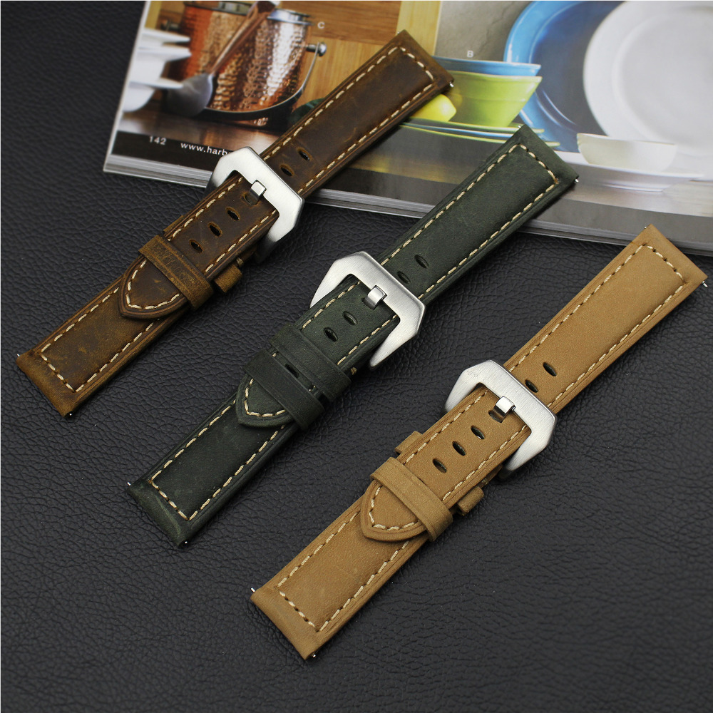 EIMO Genuine Retro Leather band for samsung watch gear s3 leather bracelet strap for watch band 22mm bellt with metal buckle crested genuine leather strap for samsung gear s3 watch band wrist bracelet leather watchband metal buck belt