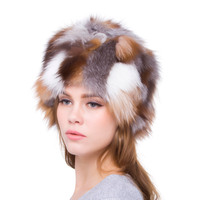 Women's Autumn and Winter Festival Hat Warm Charm Natural Fox Hat Multicolor Mosaic Design 2018 New Hot Sale Discount Favorite