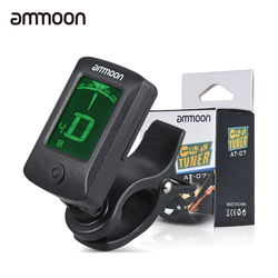 ammoon AT-07 Electronic Guitar Tuner Digital LCD Screen Clip-On Tuner for Guitar Chromatic Bass Ukulele C/ D Violin