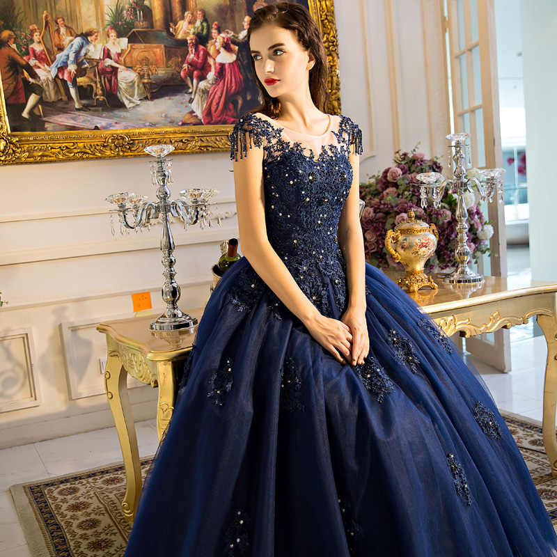 d0a08110e5 Navy Blue Mother of the Bride Dresses for Weddings Beaded Lace A Line  Evening Gowns Groom Godmother Dresses