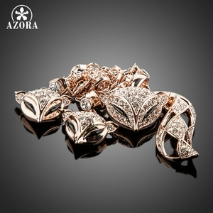 Image 2 - AZORA My Fox Lady Rose Gold Color Austrian Rhinestone Paved Fox Pendant Necklace and Earring Set TG0074