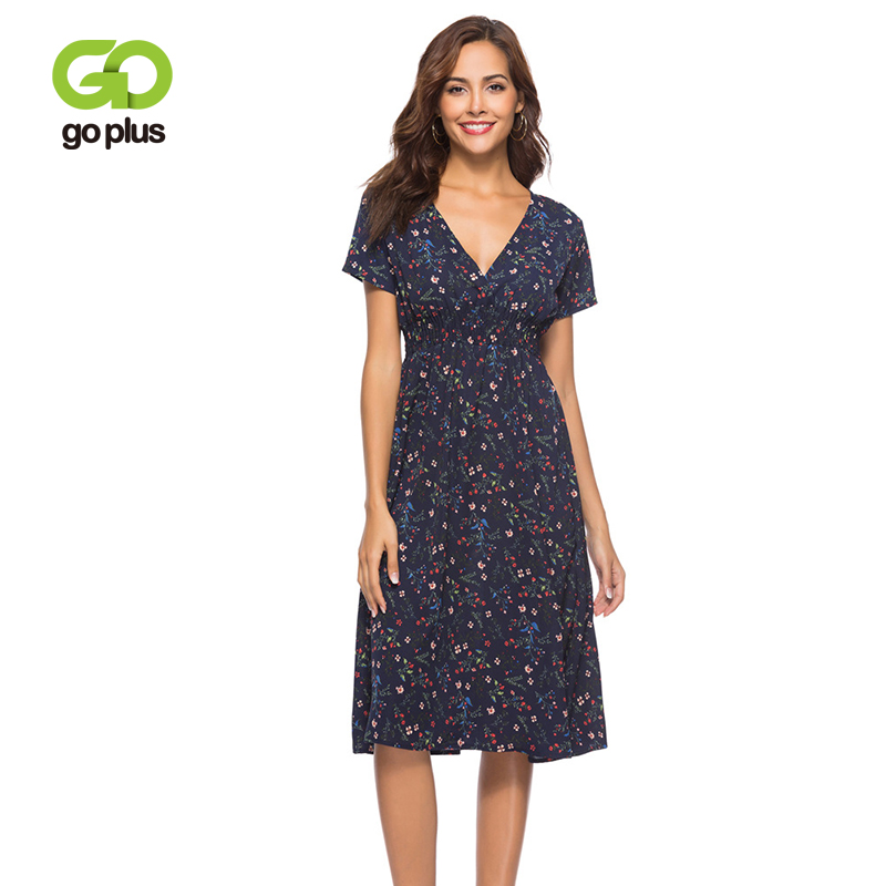 GOPLUS <font><b>Floral</b></font> <font><b>Print</b></font> Chiffon Women <font><b>Dress</b></font> <font><b>Sexy</b></font> <font><b>V</b></font> Neck <font><b>Short</b></font> Sleeve Midi <font><b>Boho</b></font> <font><b>Dress</b></font> Ladies 2019 Summer <font><b>Beach</b></font> Vintage Vestido Female image