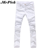 Men Hole Skinny Jeans Fashion New Brand White Cotton Slim Fit 2015 Spring Autumn Trousers Size