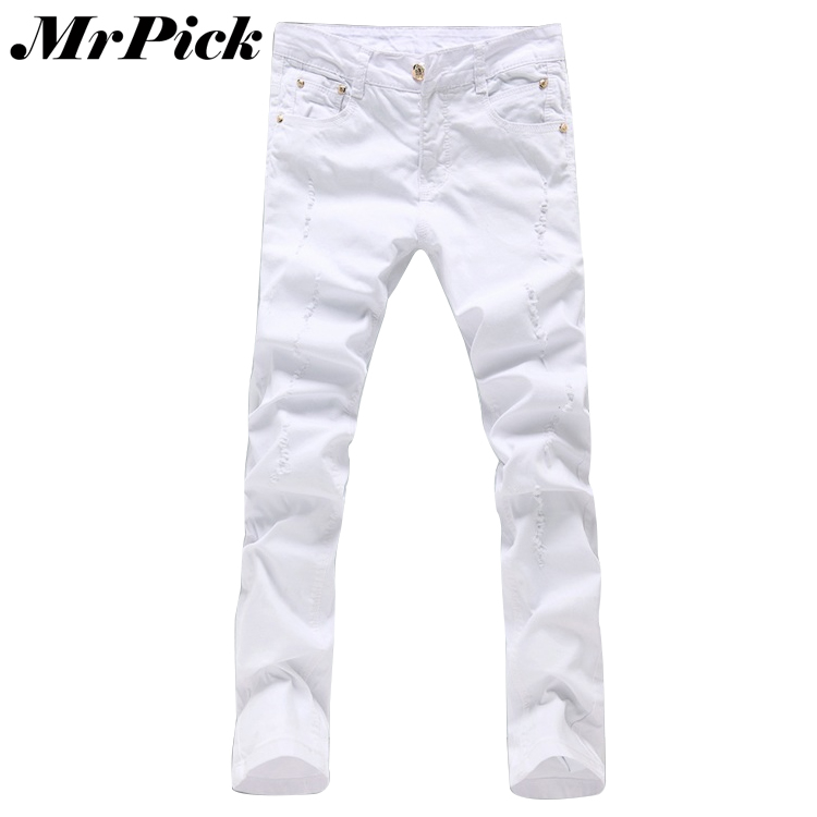 Men Hole Skinny   Jeans   Fashion New Brand White Cotton Slim Fit 2015 Spring Autumn Trousers Size 28 36 F1249