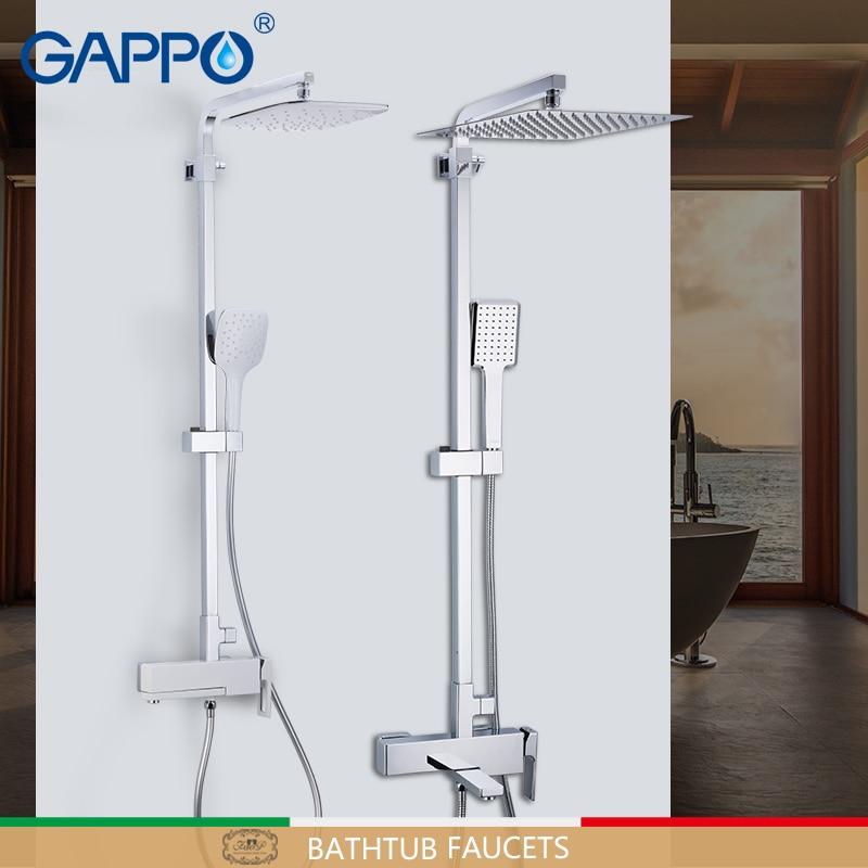 GAPPO Chuveiro Torneiras de bronze conjunto de chuveiro do banheiro fixado na parede chrome cabeça de chuveiro de massagem banho mixer torneira do chuveiro do banheiro