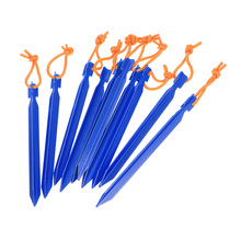 TOMSHOO 10pcs/lot 18CM/7 V-shape Tent Peg Camping Tent Stake with Reflective Rope Outdoor Traveling Tent Building Accessories