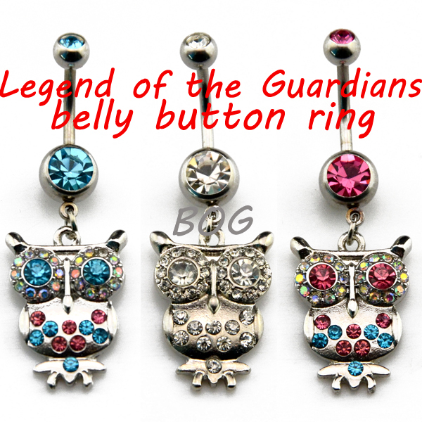 BOG-Lot Of 10 Pieces Legend of the Guardians Owl Dangle Belly Button Ring Navel Piercing Body Jewelry Wholesale