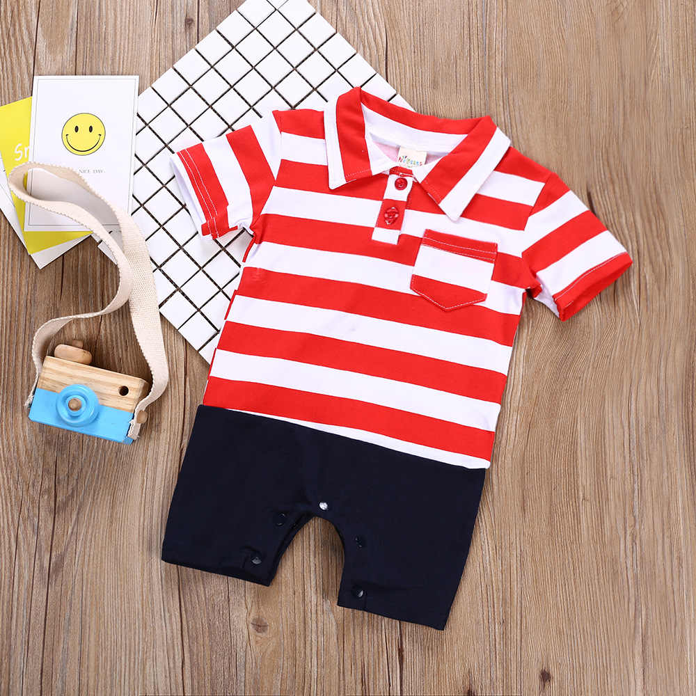 6d7d5ea51 ... Hot Baby Boy Shirt Jumpsuits Classical Stripe Color Matching Baby  Rompers Short Sleeved Kids Overalls Blue ...