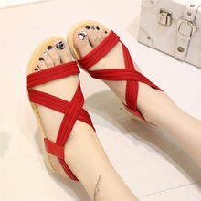 Women Gladiator Sandals Ladies Flat Shoes Elastic Band Summer Casual Sandalias Black Red Shoes Chaussure Femme Plus Size 35-41