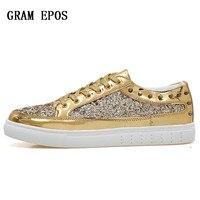 Autumn Unisex Sneakers Flats Rose Gold Silver Rivet Sequins Shiny Designer Casual Shoes Women's Golden Bling Shoes Couple Shoes