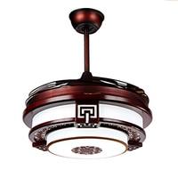 A1 nuevo chino ventilador stealth lámpara ventilador de techo de la lámpara led de madera maciza comedor dormitorio retro hogar ventilador eléctrico