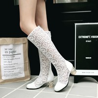 2018 Fashion Women Boots Elegant Lace Wedding Shoes Boots Female Stretch PU Leather Boots Woman Black White Knee Length Boots