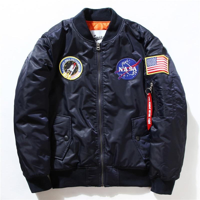 Retro Two Side Wear Ma-1 Men's flight Jacket Luxury <font><b>Embroidered</b></font> Badge Men's Baseball Coat Thick <font><b>Cardigan</b></font> Men Bomber Jacket